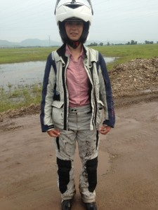 Amy got splashed on a bit after helping push the bike from behind through some mud
