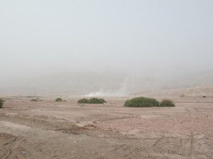 Smoky, eerie desert backdrop. Most of the last two days were like this