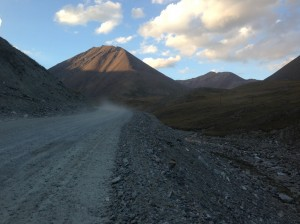 The road coming down from the mountain, just before the sun came up over the pass
