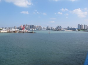 Pulling into Haikou harbor